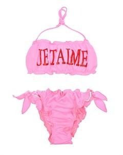 Розовый купальник с надписью Je taime детский Alberta ferretti