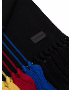 Шерстяной шарф в полоску с бахромой Saint laurent