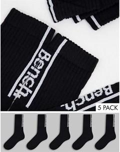 Набор из 5 пар черных спортивных носков Medine Bench