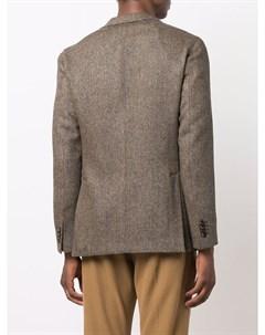 Однобортный пиджак с узором в елочку Boglioli