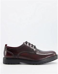 Блестящие бордовые туфли на шнуровке Cog Base london