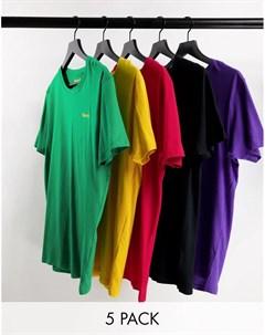 Набор из 5 футболок для дома разных цветов Conesus Bench