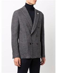 Двубортный пиджак строгого кроя Lardini