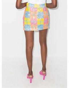 Клетчатая мини юбка с пайетками Ashish