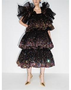 Ярусное вечернее платье с оборками и пайетками Ashish