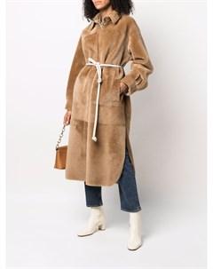 Двустороннее однобортное пальто с поясом Blancha