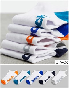Набор из 5 пар коротких спортивных носков белого цвета Jetta Bench