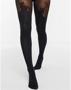Черные колготки на Хэллоуин с дизайном черный кот Pretty polly