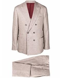 Костюм узкого кроя с двубортным пиджаком Brunello cucinelli