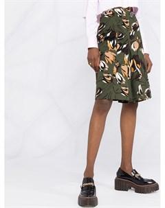 Юбка с завышенной талией и цветочным принтом Marni
