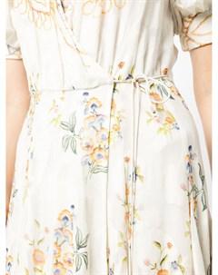 Платье с V образным вырезом и цветочным принтом Hemant & nandita