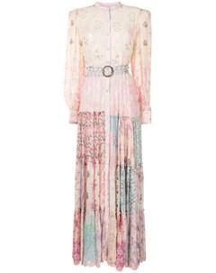 Ярусное платье с цветочным принтом Hemant & nandita
