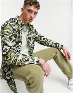 Вельветовая рубашка с длинным рукавом и сплошным принтом WеSC Olavi Wesc