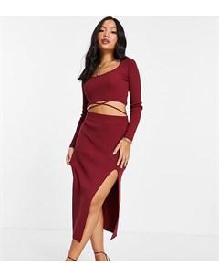Темно красная трикотажная юбка с разрезом спереди от комплекта ASOS DESIGN Petite Asos petite