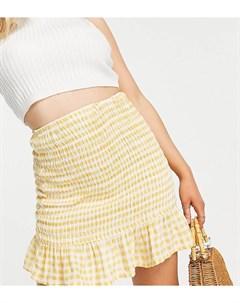 Желтая присборенная мини юбка из жатого материала с белую клетку ASOS DESIGN Petite Asos petite