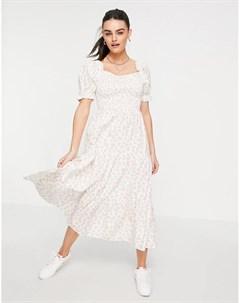 Платье макси с присборенной ярусной юбкой и винтажным цветочным принтом Neon rose