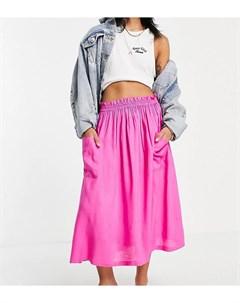 Розовая юбка миди с карманами ASOS DESIGN Petite Asos petite