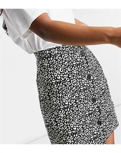 Мини юбка с пуговицами сбоку и анималистичным принтом ASOS DESIGN Petite Asos petite