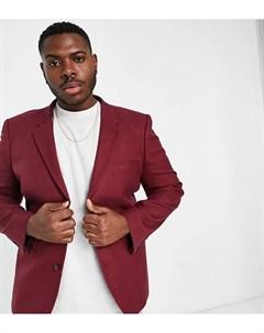 Бордовый приталенный пиджак из саржи Plus Asos design