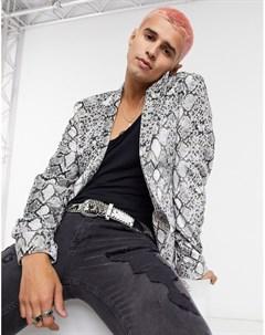 Бархатный пиджак скинни со змеиным принтом Asos design