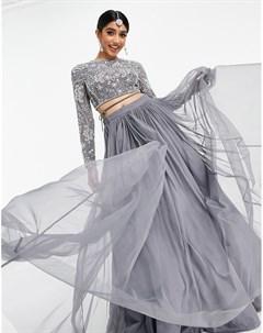 Сетчатая юбка лехенга макси Asos design