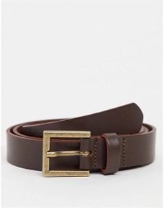 Коричневый зауженный кожаный ремень с золотистой пряжкой Asos design