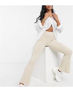 Расклешенные брюки песочного цвета в рубчик ASOS DESIGN Petite Asos petite