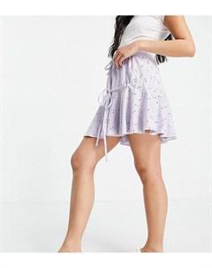 Сиреневая ярусная юбка мини с завязкой и вышивкой ришелье ASOS DESIGN Petite Asos petite