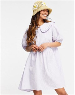 Платье мини в пастельную клетку с присборенной юбкой и воротником Neon rose