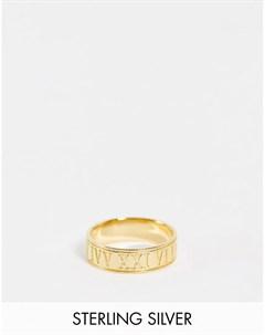 Кольцо ободок из стерлингового серебра с римскими цифрами и позолотой 14 карат Asos design