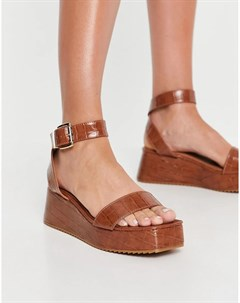 Светло коричневые сандалии на платформе Tatiana Asos design
