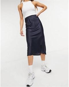 Темно синяя атласная юбка миди косого кроя в стиле комбинации Asos design