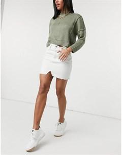 Белая джинсовая мини юбка Asos design