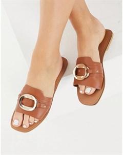 Светло коричневые кожаные сандалии с декором Formal Asos design