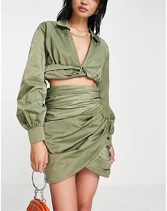 Мини юбка на запахе со сборками от комплекта Asos design