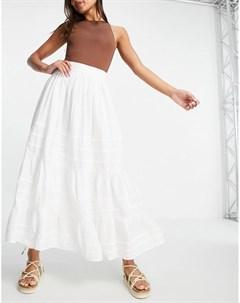 Белая юбка миди со складками Asos design