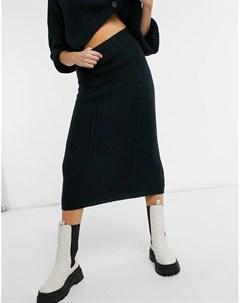 Темно синяя юбка с косичками от комплекта Asos design