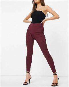 Бордовые зауженные брюки с завышенной талией Asos design