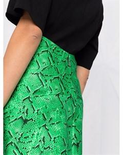 Прямая юбка со змеиным принтом Msgm
