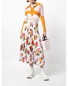 Плиссированная юбка с логотипом и цветочным принтом Msgm