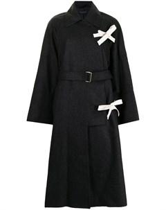 Длинное пальто с поясом Eudon choi