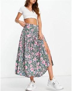 Плиссированная юбка миди с разрезом спереди и ярким цветочным принтом Neon rose