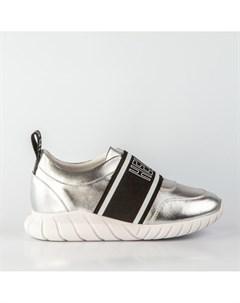 Серебристые кожаные кроссовки Calipso