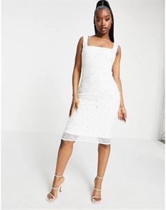Эксклюзивное платье миди с декором и квадратным вырезом Goddiva