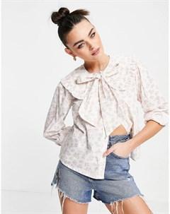 Свободная блузка с бантом и винтажным цветочным принтом Neon rose