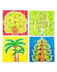 Пазлы Деревья 4 вида по 4 детали Woodland