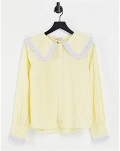 Свободная рубашка в клетку с oversized воротником Neon rose