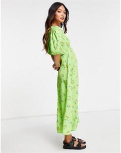 Чайное платье миди с объемными рукавами разрезом спереди и ярким цветочным принтом Neon rose