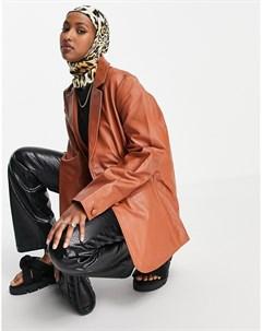 Коричневый кожаный oversized блейзер Muubaa