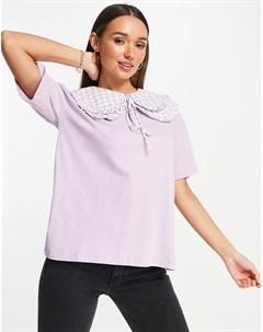 Oversized футболка с двухслойным воротником в шахматную клетку Neon rose